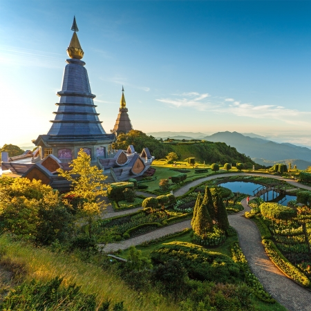 phon: Landscape of two pagoda in an Inthanon mountain, Thailand