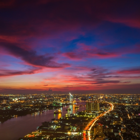 bangkok landmark: Bangkok city at twilight