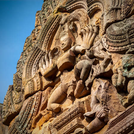 sand stone castle, phanomrung in Buriram province, Thailand. Religious buildings constructed by the ancient Khmer art.  photo