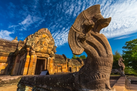 sand stone castle, phanomrung in Buriram province, Thailand  Religious buildings constructed by the ancient Khmer art   Stock Photo