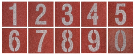 Collection of 0 to 9 ,Numbers on red running track  photo