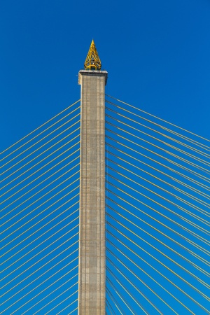 Concrete Pylon Bridge Detail of Rama8 bridge in Thailand  photo