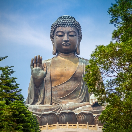 Giant Buddha Statue in Tian Tan. Hong Kong, China  Stock Photo