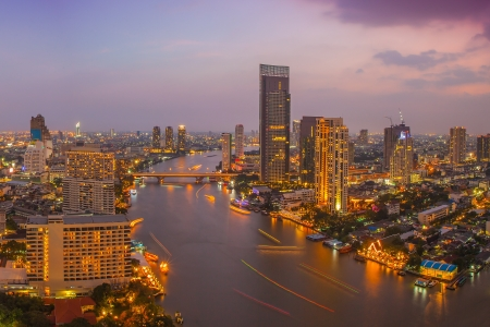Bangkok City at night time, Hotel and resident area in the capital of Thailand  版權商用圖片