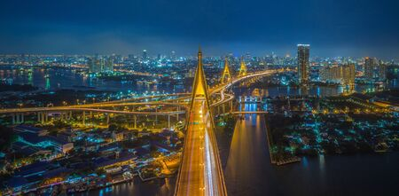bhumibol: Bhumibol Bridge in Thailand  the Industrial Ring Road Bridge  in Thailand   Stock Photo