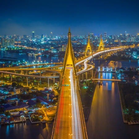 Bhumibol Bridge in Thailand (the Industrial Ring Road Bridge) in Thailand.  photo