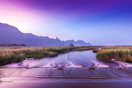 bushwalk: morning view over the mountain range  Stock Photo