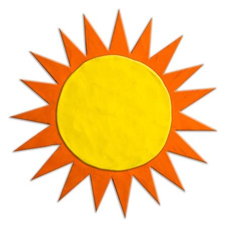 sun s: Bambini S colore plastilina sole su uno sfondo bianco