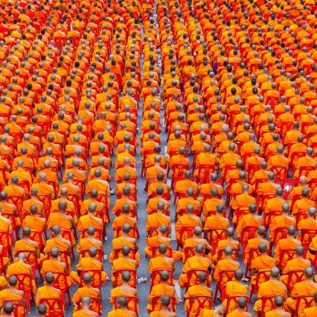 Many Buddhist monks sit on a chair view from backside photo
