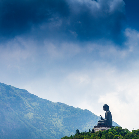 Giant Buddha Po Lin Monastery in Hong Kong, Lantau Island  Stock Photo