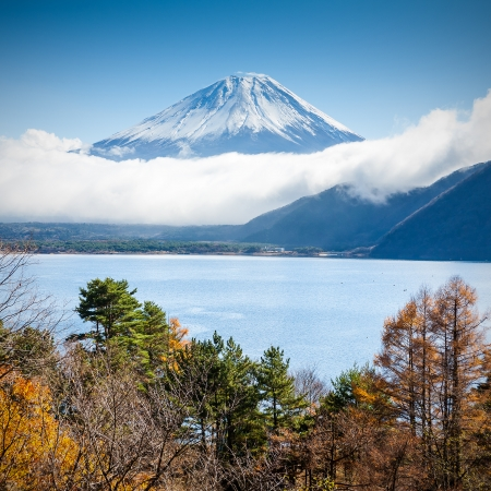 Mt Fuji view from the lake Stock Photo - 22498673