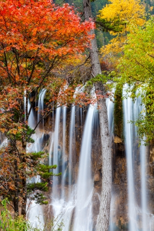 Waterfall in Jiuzhaigou Valley national Park  Imagens