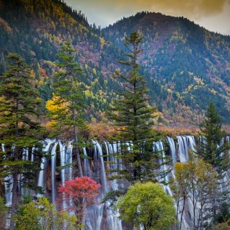 Beautiful Waterfall in Jiuzhaigou, Sichuan province, China  photo