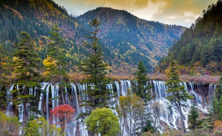 Beautiful Waterfall in Jiuzhaigou, Sichuan province, China  photo