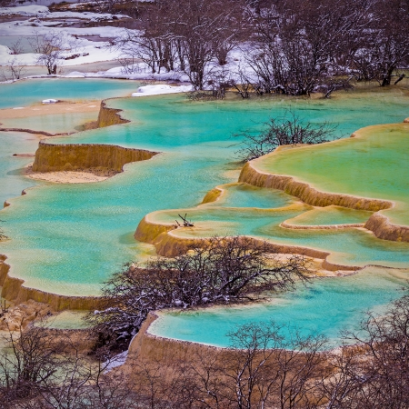 Beautiful Clear Water in Huanglong , China.