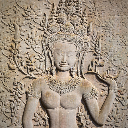 Apsara sculpture in Angkor Wat,Siem Riep,Cambodia  Stock Photo - 24404898