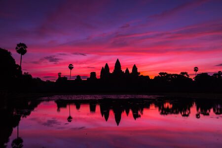 beautiful silhouette of Angkor Wat during sunrise, Cambodia  photo