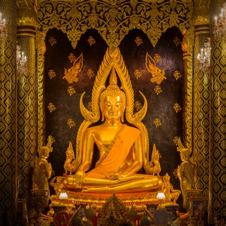 Phra Buddha Chinnarat at Phra Si Rattana Mahathat temple in Thailand photo