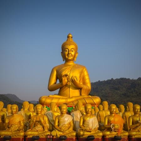 buddha image with 1250 disciples statue, Nakhonnayok, Thailand photo
