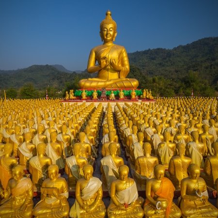 buddha image with 1250 disciples statue, Nakhonnayok, Thailand photo