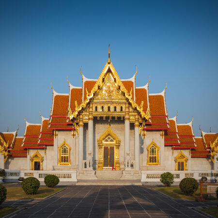 Marble Temple (Wat Benchamabophit Dusitvanaram), major tourist attraction, Bangkok, Thailand. This is a Buddhist temple, it is one of Bangkoks most beautiful temples and a major tourist attraction.  photo
