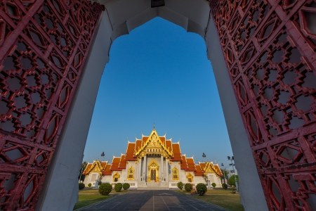 Marble Temple (Wat Benchamabophit Dusitvanaram), major\ tourist attraction, Bangkok, Thailand. This is a Buddhist temple,\ it is one of Bangkok\'s most beautiful temples and a major tourist\ attraction.