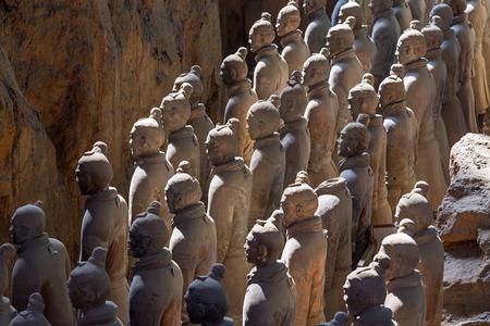 Terracotta army warriors in Xian, China  Stock Photo