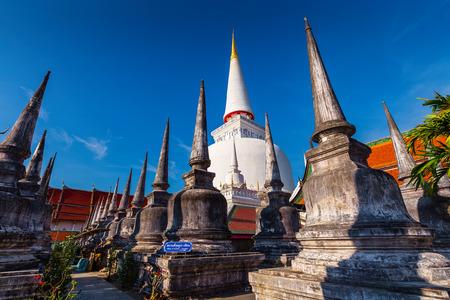 Ancient Pagoda in Wat Mahathat temple, Nakhon Si Thammarat ,Southern of Thailand  Stock Photo