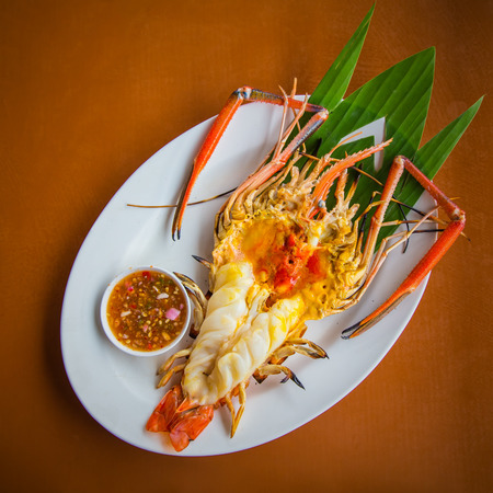 Grilled fresh river prawn,thai style food  at Thailand  restaurant.  photo