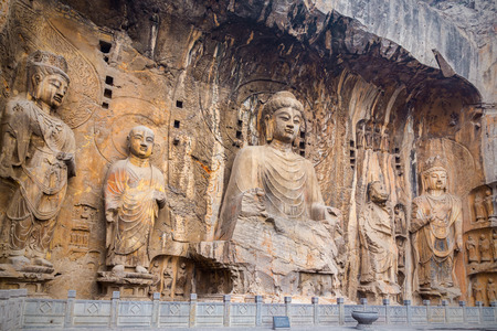Longmen Grottoes with Buddhas figures are Starting with the Northern Wei Dynasty in 493 AD. It is one of the four notable grottoes in China.