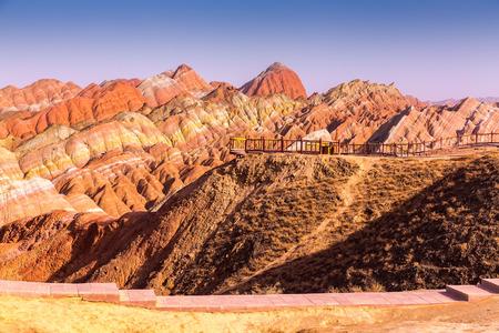 landform: Colorful mountain in Danxia landform in Zhangye, Gansu of China