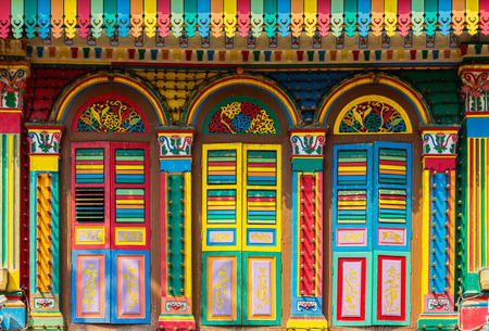 Colorful facade of building in Little India, Singapore photo