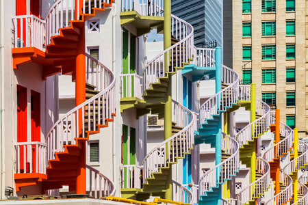 Colorful spiral stairs of Singapore's Bugis Village Stock Photo - 31372798