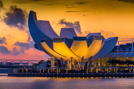 SINGAPORE - AUG 31: Architecture of Art Science Museum at Morning on August 31, 2014 in Singapore. It is one of the attractions at Marina Bay Sands. It has 21 gallery spaces with a total area of 6,000 square meters.  Editorial