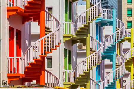 spiral staircase: Colorful spiral stairs of Singapores Bugis Village  Stock Photo