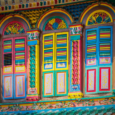 Colorful facade of building in Little India, Singapore  Imagens
