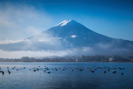 kawaguchi: Mountain Fuji and Kawaguchiko lake with morning mist in autumn season