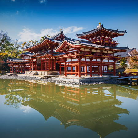 world heritage site: Uji, Kyoto, Japan - famous Byodo-in Buddhist temple, a UNESCO World Heritage Site. Phoenix Hall building.