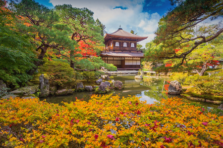 Ginkaku-ji, the Temple of the Silver Pavilion, is a Zen temple in the Sakyo ward of Kyoto, Japan Stock Photo