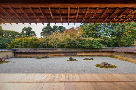 Zen Rock Garden in Ryoanji Temple, famous place in Kyoto, Japan