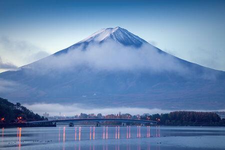 The beautiful mount Fuji in Japan at sunrise photo