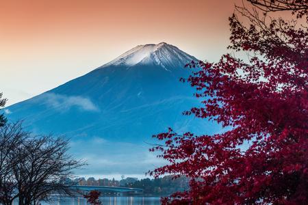 Mount Fuji at Kawakuchiko lake in Japan