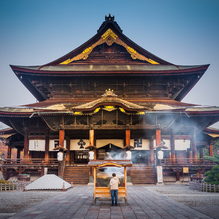 hondo: Zenkoji Temple, Nagano, JAPAN. One of the most important temples in Japan which was built in the 7th century