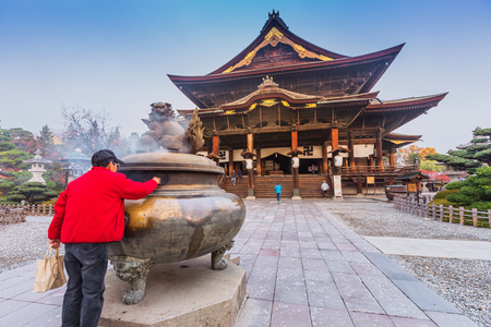 tera: Nagano, JAPAN - 11 Nov. 2014: Zenkoji Temple, one of the most important temples in Japan which was built in the 7th century. The main Buddhist image is a hidden Buddha statue, not shown to the public.