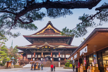 hondo: Nagano, JAPAN - 11 Nov. 2014: Zenkoji Temple, one of the most important temples in Japan which was built in the 7th century. The main Buddhist image is a hidden Buddha statue, not shown to the public.