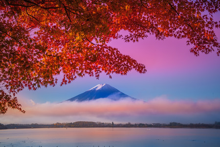 Mount Fuji at Kawakuchiko lake in Japan