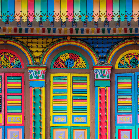 little colours: Colorful facade of building in Little India, Singapore