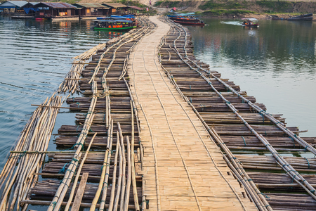 forest railway: Bamboo bridge across the river in Sangkhlaburi kanchanaburi Province Asia Thailand Stock Photo