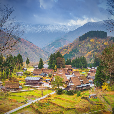 gifu: Japan, Tokai Region, Gifu Prefecture, Shirakawa, View of Ainokura village with houses