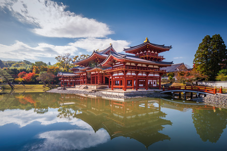 Uji, Kyoto, Japan - famous Byodo-in Buddhist temple, . Phoenix Hall building.